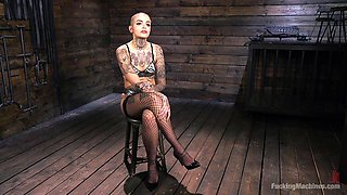Short haired inked slut Leigh Raven tied up and abused by machines