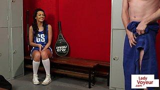 Voyeur babe enjoys jerkoff at the lockerroom
