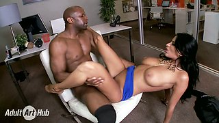Beautiful white babe Anissa Kate gets fucked in mish pose  by her black boss in the office