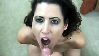 Video compilation showing sexy babes munching on cumshots