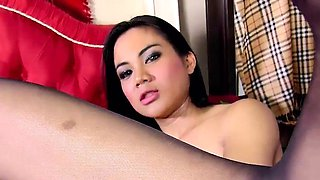 Stockinged shemale doggystyling tgirl beauty
