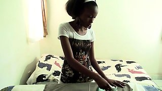 Ebony maid gets big white dick-down