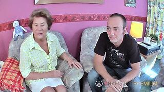 Hairy old German grandma has a hairy pussy