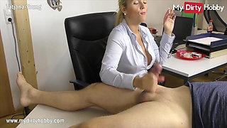 MyDirtyHobby - Smoking secretary gives her boss a handjob
