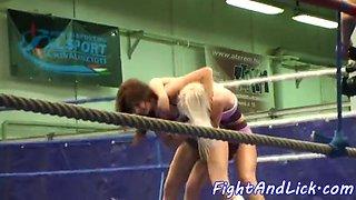 wrestling babes shake their big asses