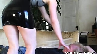 Cutie ties up her stud and smothers him with her great ass