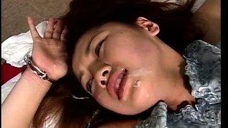 Slutty Oriental babes get their faces covered in fresh cum