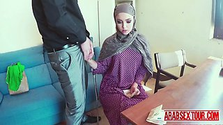 Gorgeous arab chick moans when her boss expands her pussy with his dick