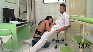 Young babe Athina gives head to filthy doctor