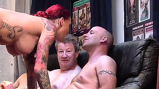 busty tattooed Milf party banged