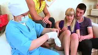Doctor watches hymen check-up and virgin girl plowing07eHi