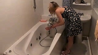 Bathroom hidden camera filming the hot blonde Marina
