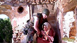 Beautiful Arab woman sucks a horny French soldier
