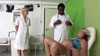 Pregnant Slut Seduced By Doctor And Nurse Into Hot Threesome
