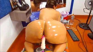 Busty BBW Latina Babe Fucking Her Sex Machine (Close-Up)