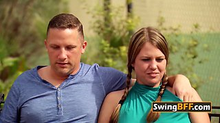 Brett and his smoking hot wife join other horny couples at swing house