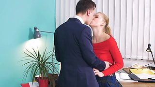Playful girl creampied in cabinet by father's handsome worker