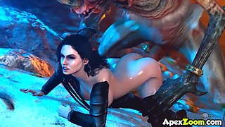 The Witcher babes with big boobs and perfect ass get hammered hard by strong cocks