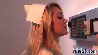 Saucy blonde nurse rides a big boner