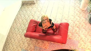 Clad in sexy lingerie and fishnets Aleska plays with her