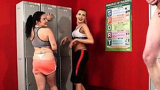 Voyeur gym duo film JOI in fitness lockerroom