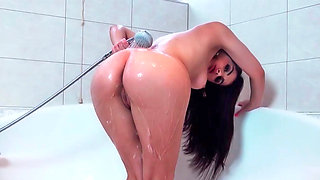 Valentina taking hot shower and blowing off some lucky bloke