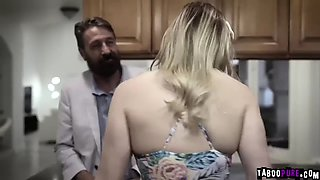 Hot teen fucked by dads best friend in the kitchen