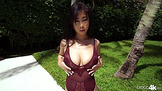 Petite Jade Kush bends over for a man's fat rod during an outdoor fuck