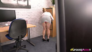 Blonde secretary Lucy Lume bends over and shows panties upskirt