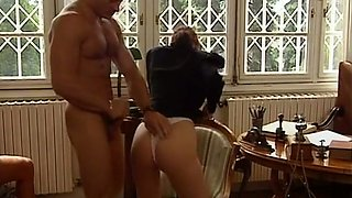 Stunning brunette busty doctor blows dick of a man