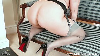Curvy blonde Anna Joy masturbates and spreads pussy in grey nylons  high heels after lingerie strip