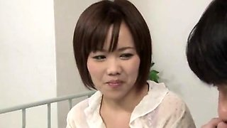 Japanese nurse in white stockings gives amazing blowjob