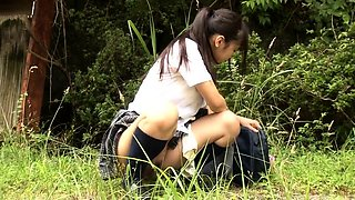 Petite Japanese schoolgirls getting fucked in the outdoors
