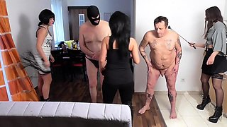 slaves get spanked at privat german femdom party