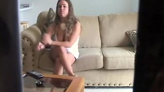 Curly Haired Babe Has 69 on the Couch