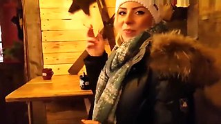 GERMAN BLONDE IN BLACK PUFFY JACKET AND FUR HOOD SEX