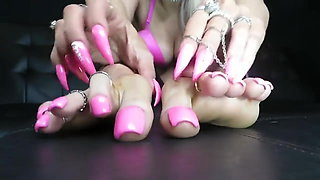 Girl with fake pink toenails feet JOI-anyone know her name?