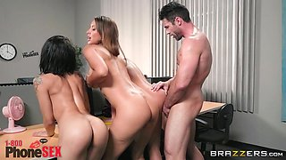 Amia Miley and Isis Love join a chick for a hot foursome