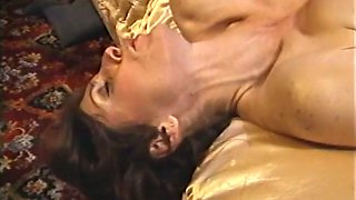 Sizzling hot and busty brunette milf babe blows dick on the bed