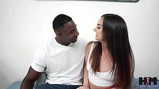 Giant black phallus invades throat and pussy of pretty white babe Brittany Shae