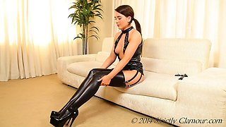 Tammy m black pvc dress &amp stockings