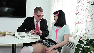 Kissable schoolgirl was teased and reamed by her older instr