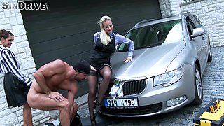 Nathaly Cherie and a hot chick fucked hard on a car