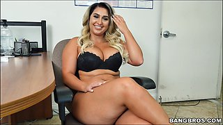 Blonde babe Nina Kayy with large tits spreads legs to be fucked