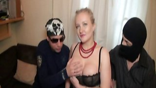 Olga a beautiful Russian fucked in a foursome