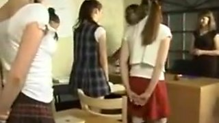 School girls getting spanked