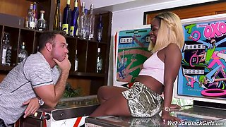 Playing With Ebony Blond Hair Babe - Interracial Sex