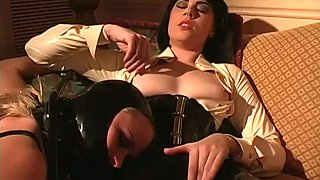 Smoking hot intense wicked dominatrix gets off on dominating her slaves