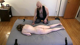 Master Whips His Hot Sex Slave While She's Bound To The Bed