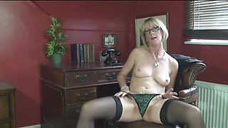 Blonde Mature Lady in Black Stockings